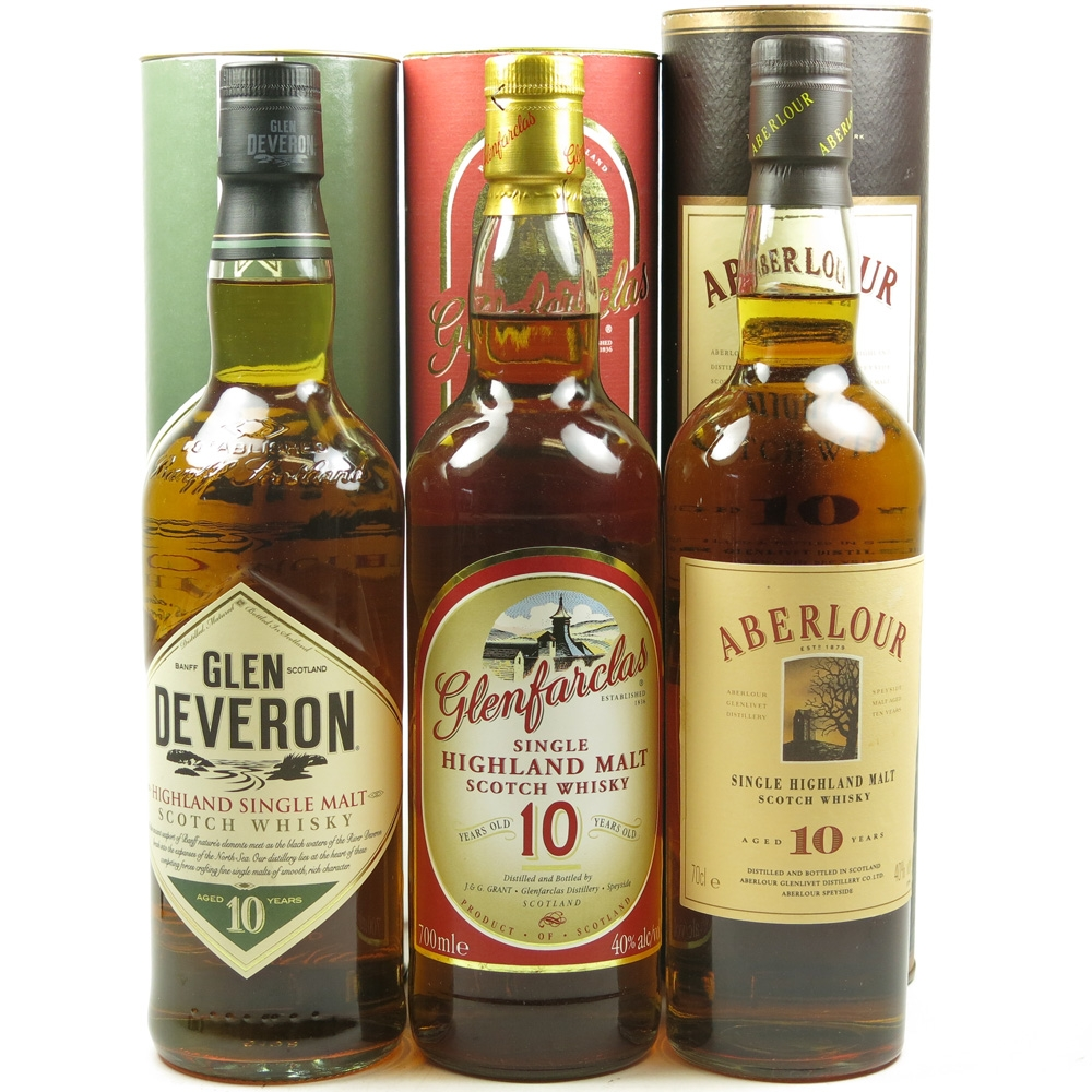 Miscellaneous 10 Year Old Single Malts 3 x 70cl