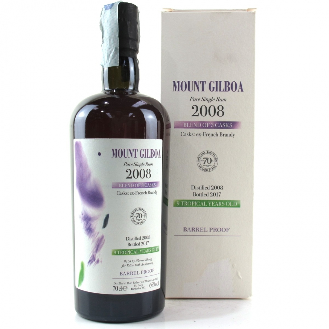 Mount Gilboa 2008 Pure Single Rum 9 Year Old / Velier 70th Anniverary