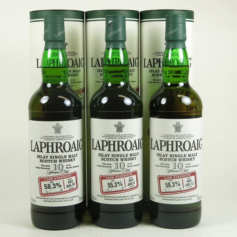 Laphroaig 10 Year Old Cask Strength Batch 2 to Batch 7 6 x 70cl Front 2