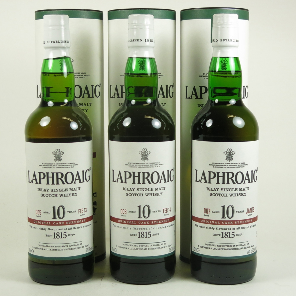 Laphroaig 10 Year Old Cask Strength Batch 2 to Batch 7 6 x 70cl Front 3
