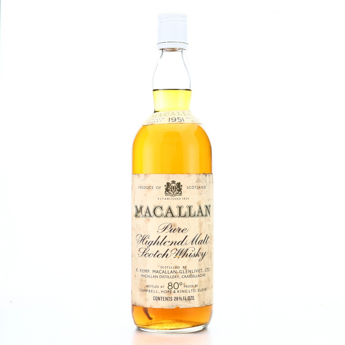 Macallan 1951 Campbell, Hope and King 80 Proof