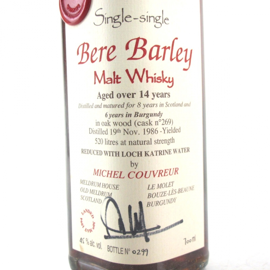 Michel Couvreur Bere Barley Aged Over 14 Years
