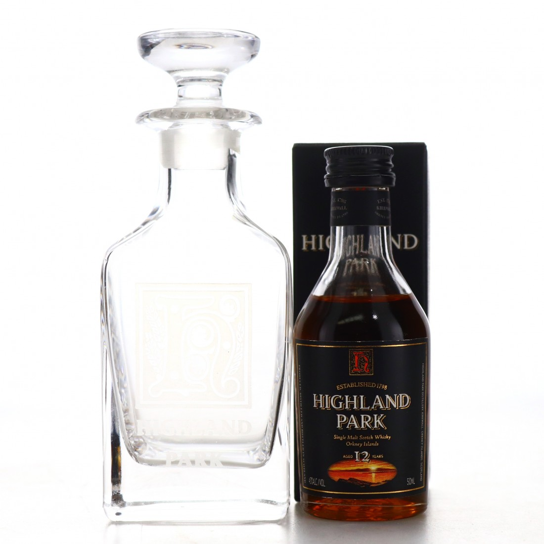 Highland Park 12 Year Old Miniature 1990s / Includes Mini Decanter