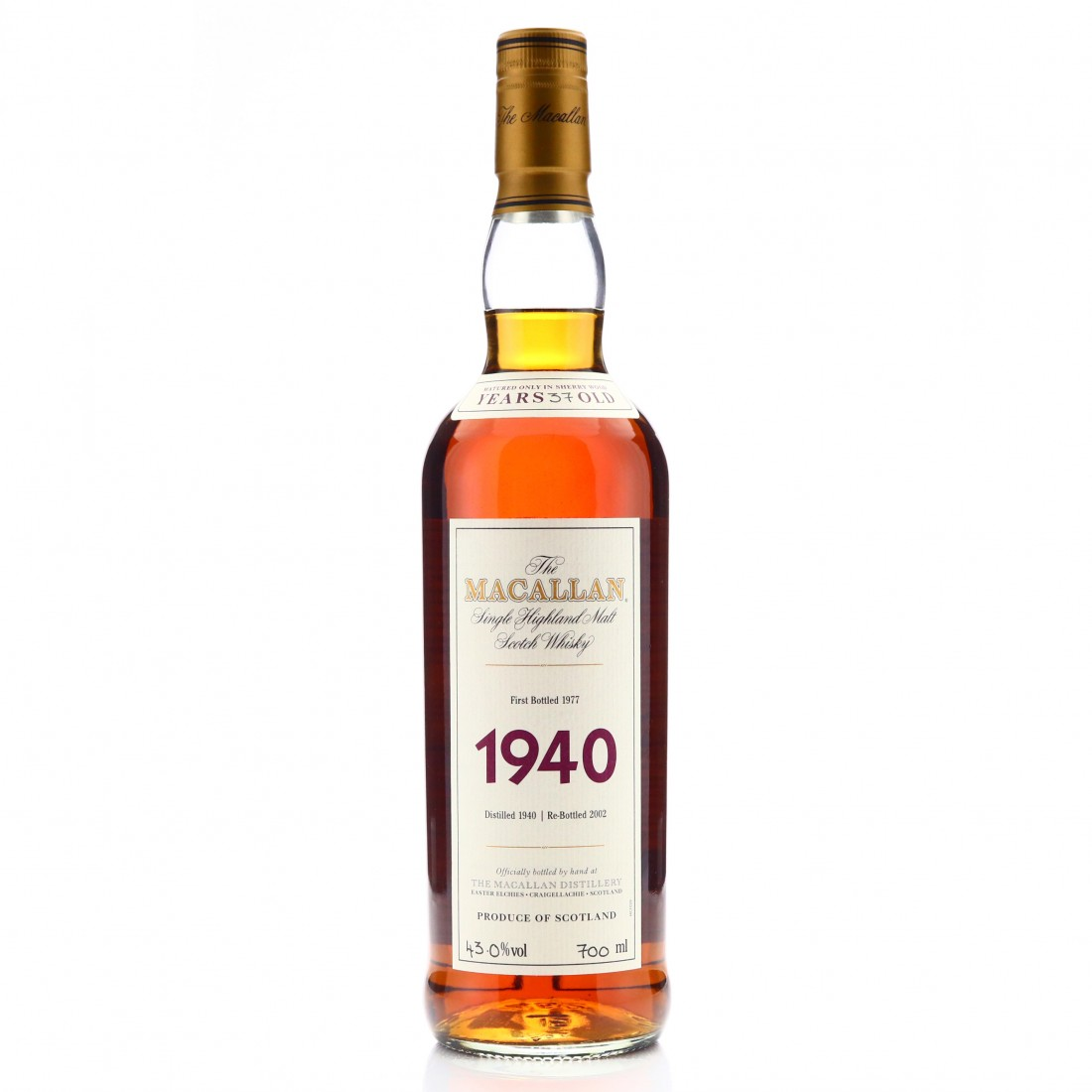 Macallan 1940 Fine and Rare 37 Year Old