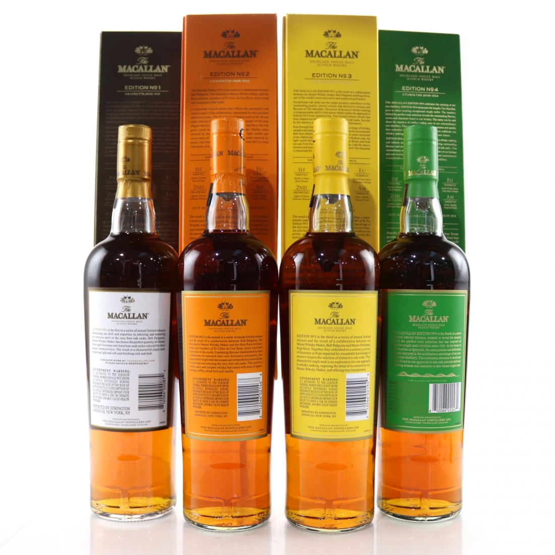 Macallan Edition No.1-4 Collection 4 x 75cl / US Import