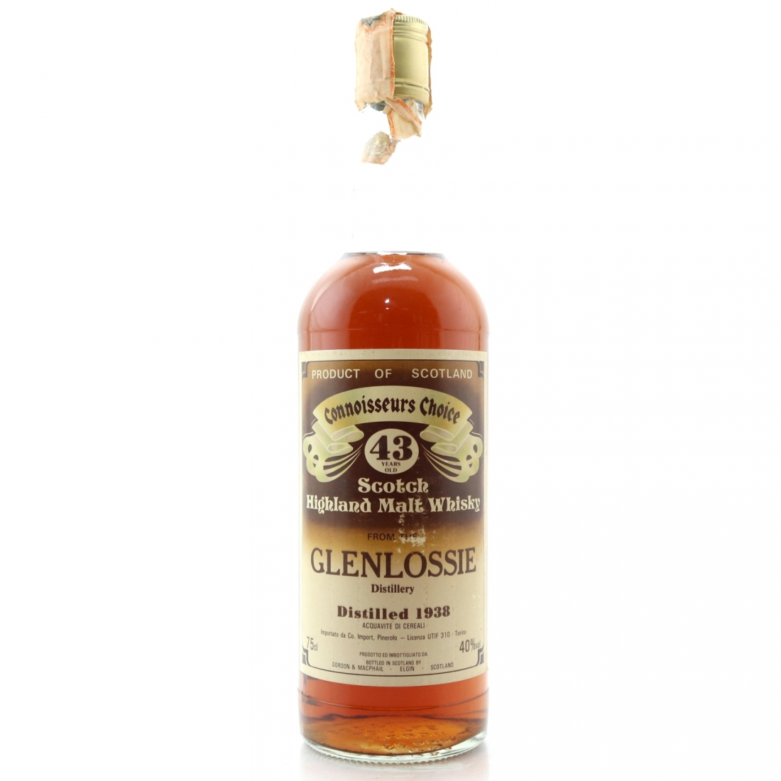 Glenlossie 1938 Gordon and MacPhail 43 Year Old / Co. Pinerolo Import