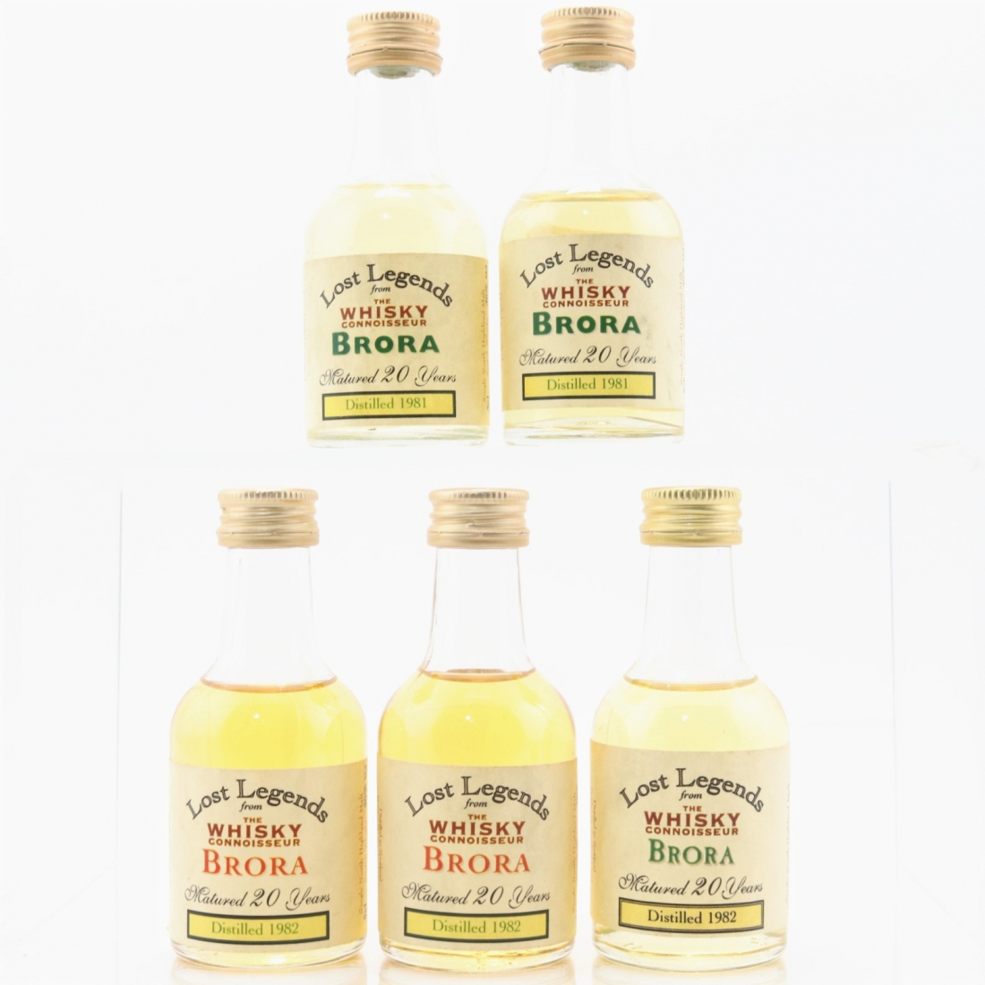 Brora1981/1982 Whisky Connoisseur20 Year Old Miniatures 5 x 5cl