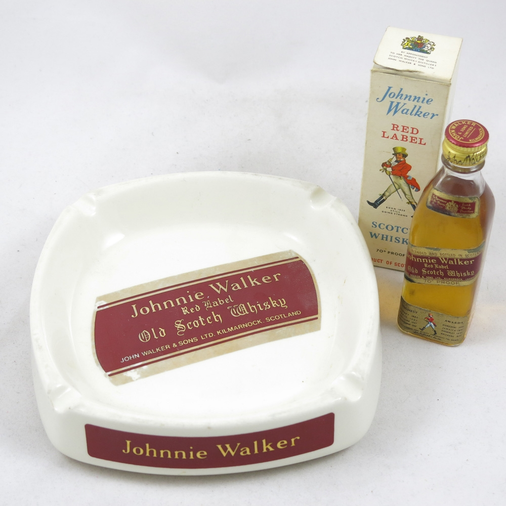 Johnnie Walker Red Label 5cl and Wade Jug and Ashtray front