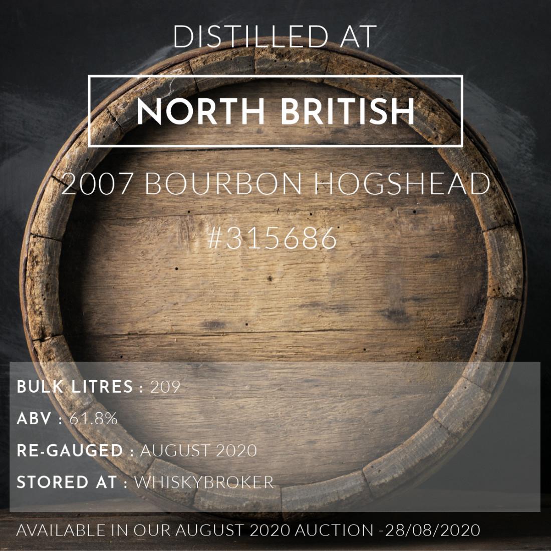 1 North British 2007 Bourbon Hogshead #315686 / Cask in storage at Whiskybroker