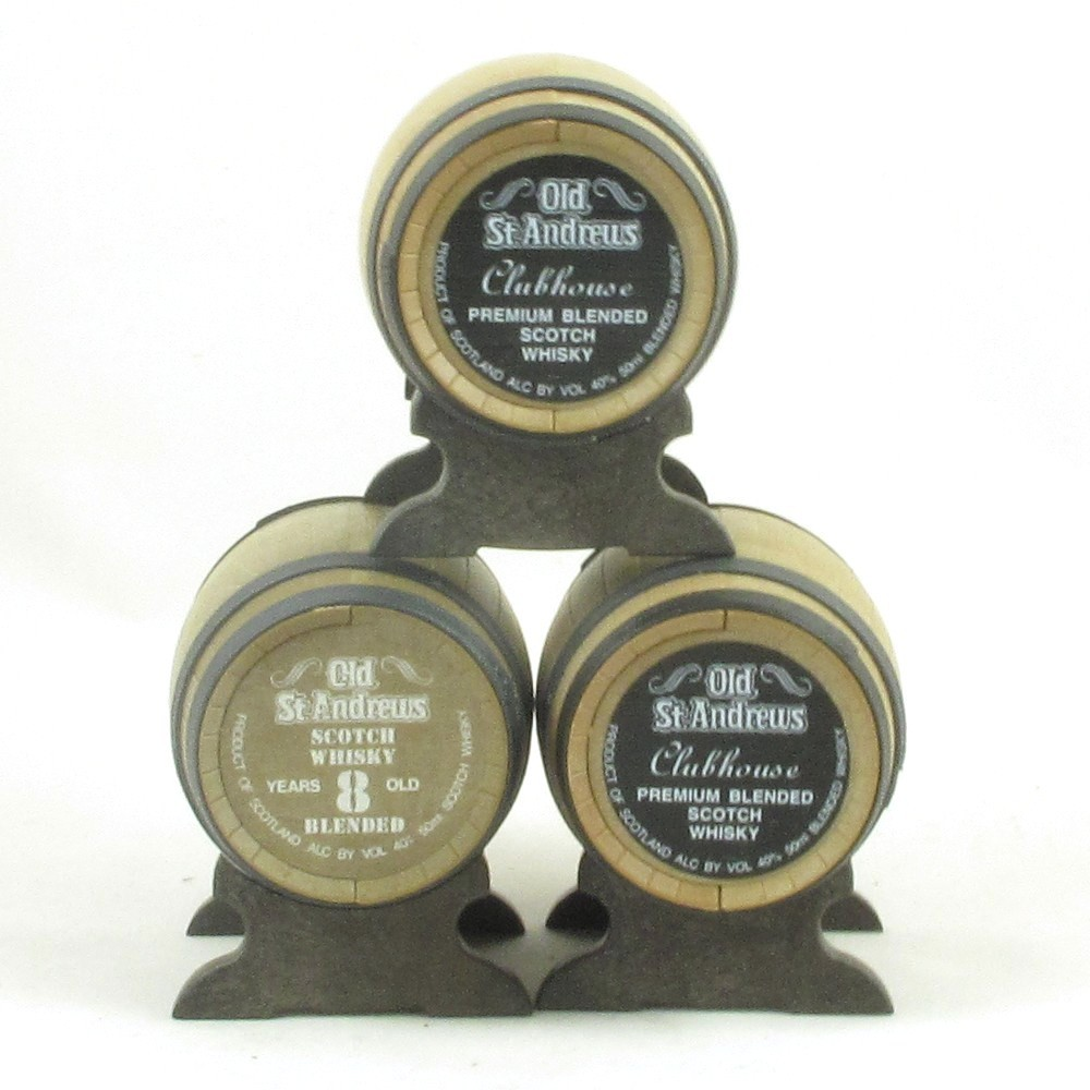 Old St Andrews Club House and Assorted Golfing Miniatures Casks