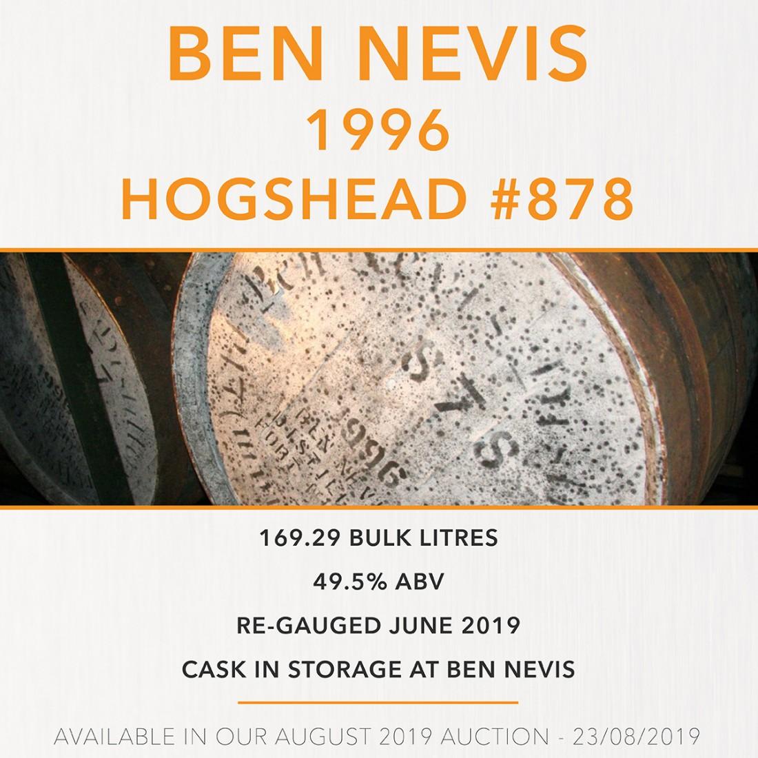 1 Ben Nevis 1996 Hogshead #878 / Cask in storage at Ben Nevis Distillery - sample TBC