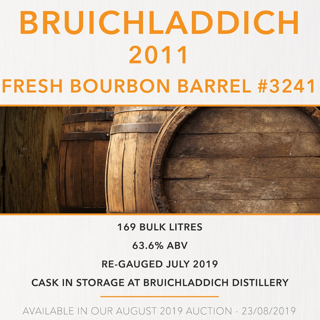 1 Bruichladdich 2011 Fresh Bourbon Barrel #3241 / Cask in storage at Bruichladdich