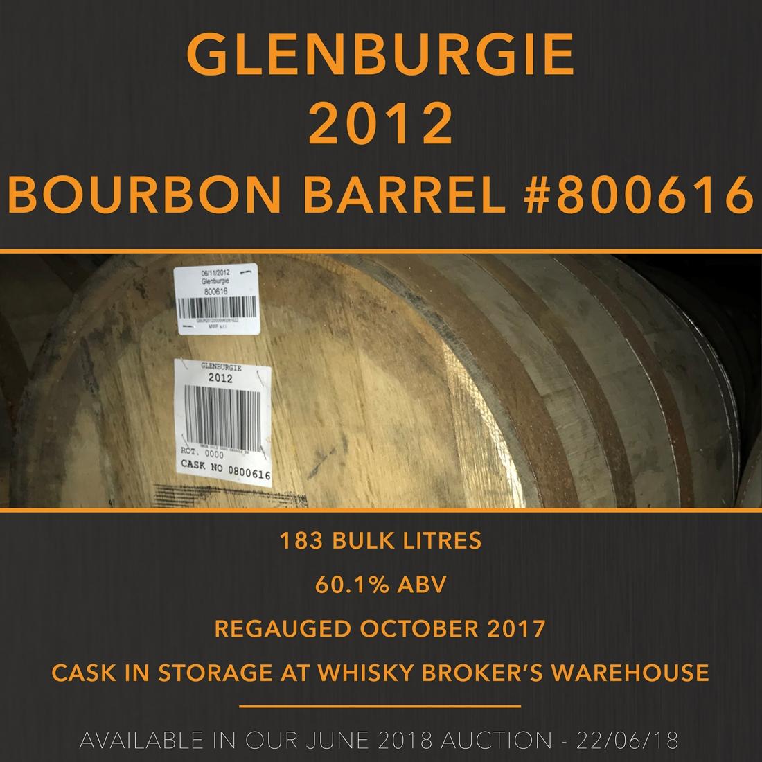 1 Glenburgie 2012 Bourbon Barrel #800616 / Cask in storage at Whisky Broker