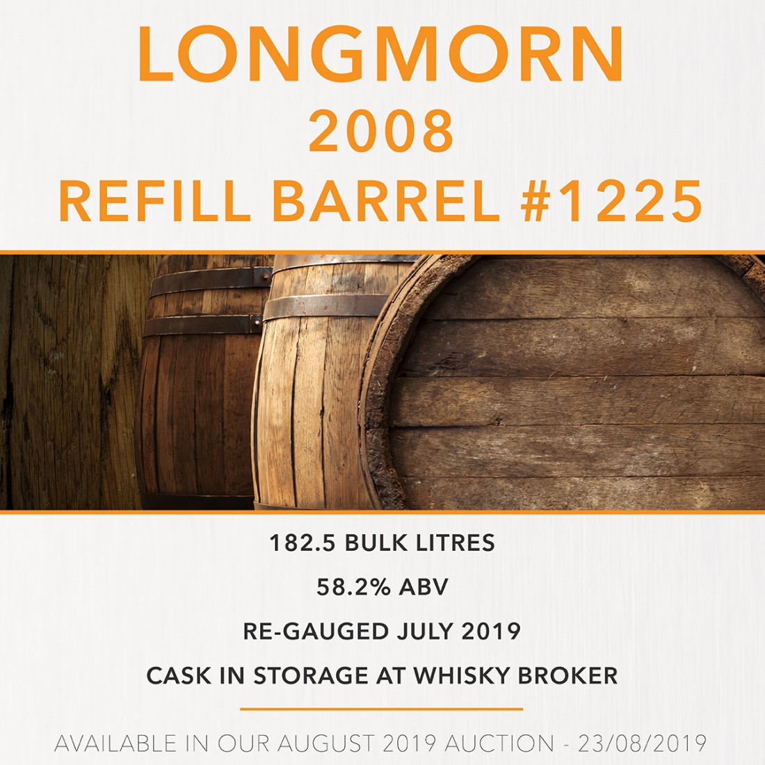 1 Longmorn 2008 Refill Barrel #1225 / Cask in storage at Whiskybroker - sample TBC