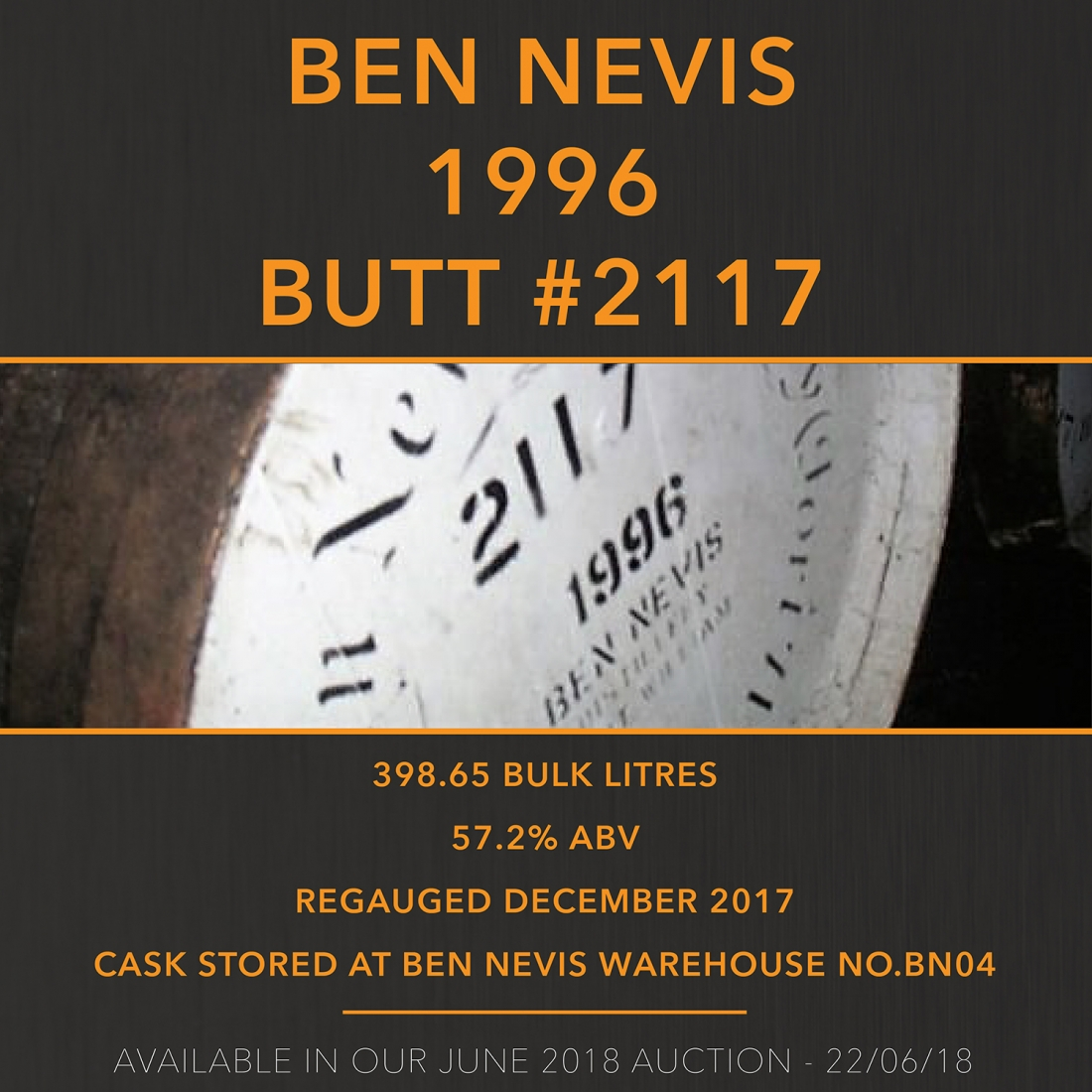 1 Ben Nevis 1996 Guthrie Cask #2117 21 Year Old / Cask in storage at Ben Nevis